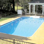 Legacy Edition Pools, 2ft Radius Rectangle Vinyl Liner Pool with Gazebo