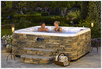 stone spa outdoors